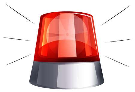 luz roja: la luz de la sirena en el fondo blanco ilustración
