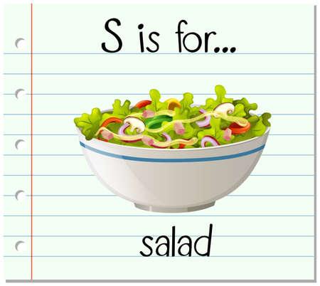 salad: Flashcard letter S is for salad illustration