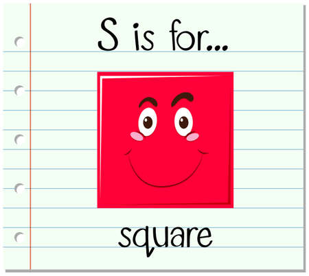 phonetics: Flashcard letter S is for square illustration