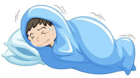 nightmare: Boy in bed having nightmare illustration Illustration