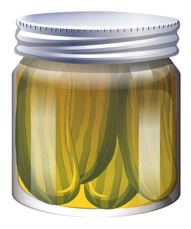 isolated ingredient: Pickles in clear jar illustration