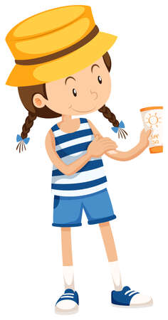 suntan lotion: Little girl with sunlotion tube illustration