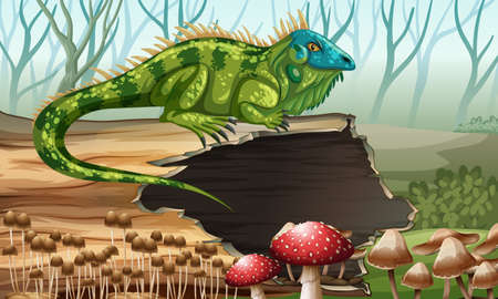 log on: Iguana standing on the log illustration