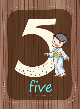 countable: Flashcard number 5 with number and word illustration