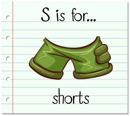 shorts: Flashcard letter S is for shorts illustration