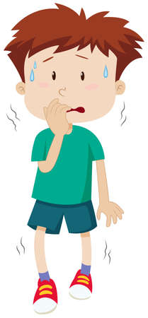 Little boy with scared face illustration
