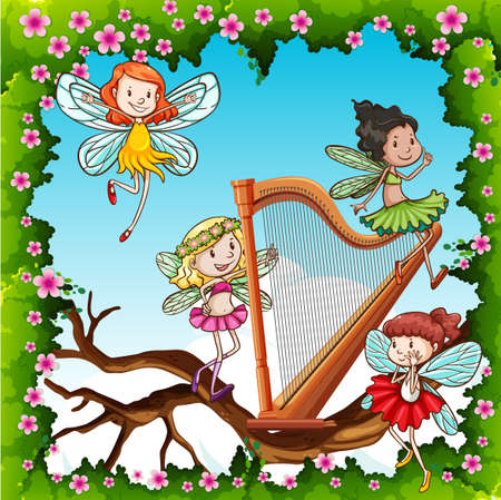 Fairies: Fairies flying in the garden illustration