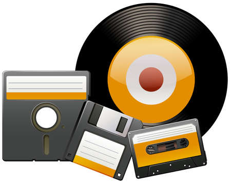 casette: Classic disks and tapes illustration