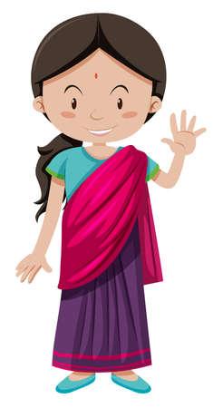 mujeres felices: niña india con la ilustración de felicitación cara feliz