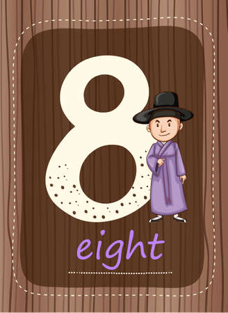 countable: Flashcard number 8 with number and word illustration