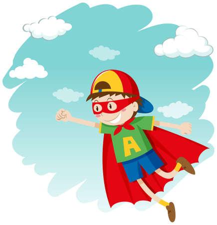 dressing up: Boy dressing up as superhero flying illustration