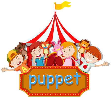 Los niños y niñas que juegan el ejemplo de los animales marionetas