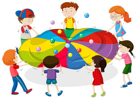 Kids playing game of balancing balls on sheet illustration