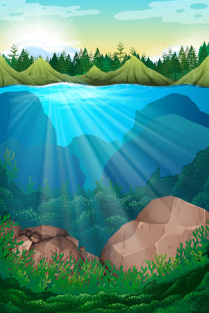 Scene with sea and underwater illustration
