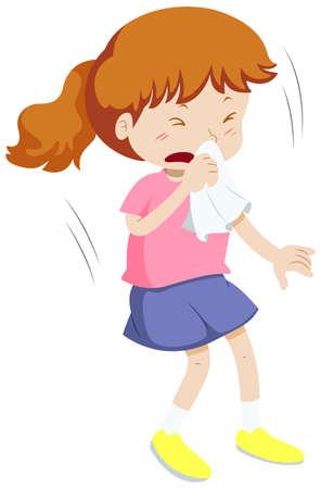 女の子は、イラスト ハンカチで鼻をカバーします。