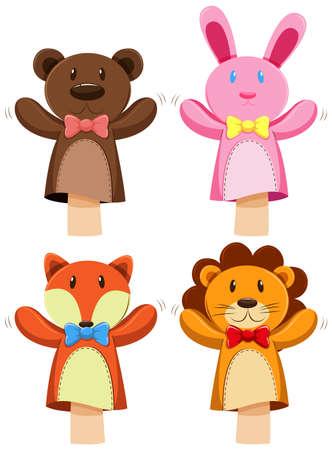 Verschillende soorten dieren marionet illustratie