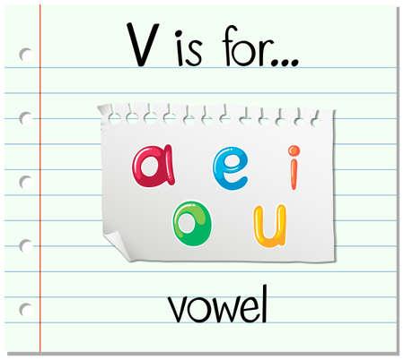 vowel: Flashcard letter V is for vowel illustration