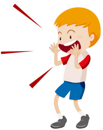 shouting: Little boy yelling at something illustration