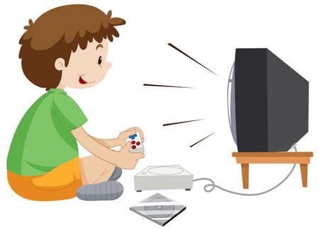 vdo: Boy playing vdo game alone illustration Illustration