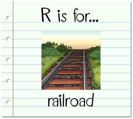 linguistic: Flashcard letter R is for railroad illustration