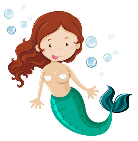 fantacy: Mermaid with green fin illustration
