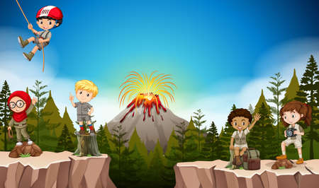 climbing mountain: Boys and girls camping in the mountain illustration