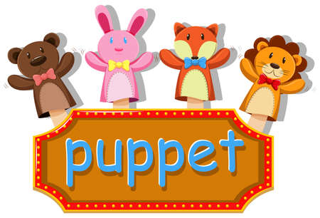 puppets: Animals puppets with sign illustration