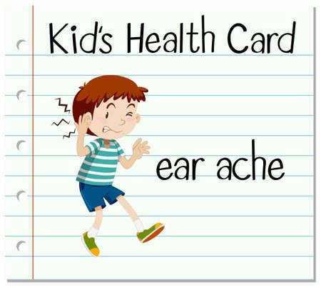 dolor de oido: tarjeta sanitaria con el niño pequeño y la ilustración de dolor de oído