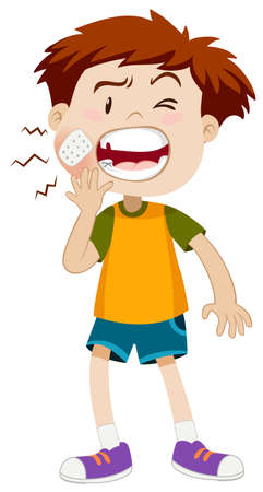 injured person: Little boy having toothache illustration