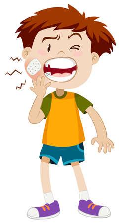 dolor de muelas: niño pequeño que se ilustración de dolor de muelas Vectores