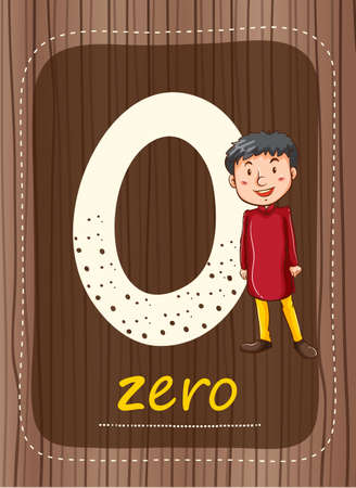 Flashcard number 0 with number and word illustration