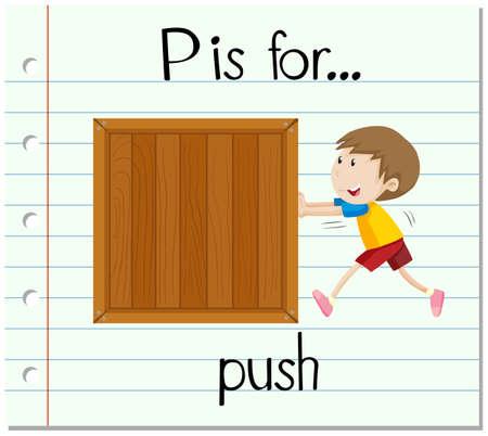 push: Flashcard letter P is for push illustration