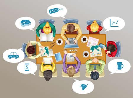 Geschäftsleute Treffen auf dem Tisch Illustration