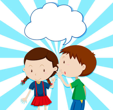 secrets: Boy whispering to girl illustration