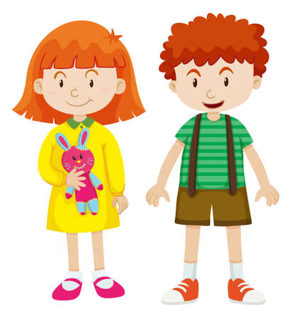 girl illustration: Boy and girl with happy face illustration