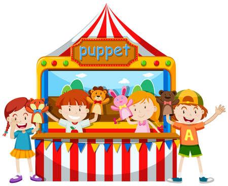 Children playing puppet together illustration Çizim