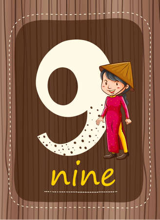 countable: Flashcard number 9 with number and word illustration Illustration