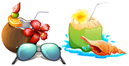 Fresh coconut juice with straw illustration