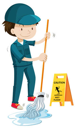 wet floor caution sign: Janitor mopping the wet floor illustration