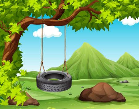 Scène met schommel aan de boom illustratie Stock Illustratie