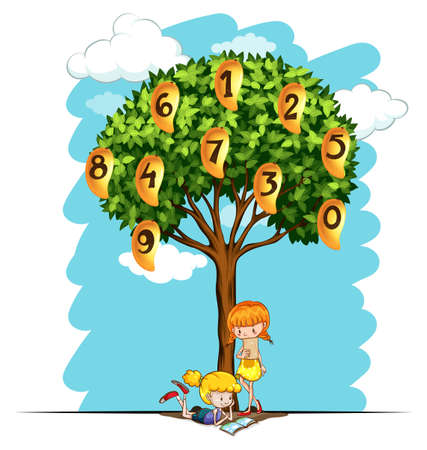 six objects: Numbers on mango tree illustration Illustration