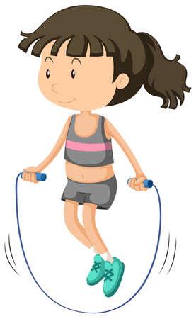 Girl jumping rope alone illustration Vector Illustration