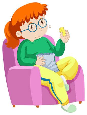 chip donna che mangia sul divano illustrazione Vettoriali