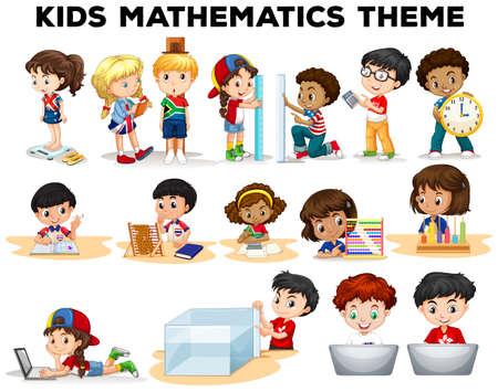 Kids solving math problems illustration  イラスト・ベクター素材