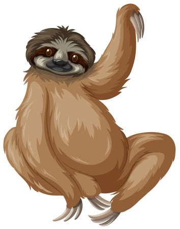 wild living: Sloth lifting one arm up illustration Illustration