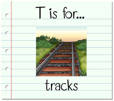 phonics: Flashcard letter T is for tracks illustration
