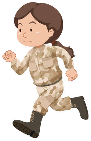 art activity: Female soldier in brown uniform illustration