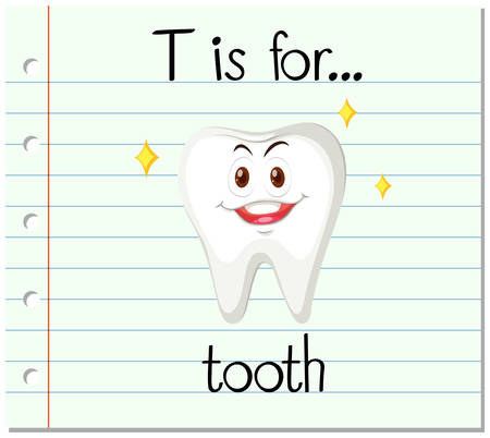 learning series: Flashcard letter T is for tooth illustration Illustration