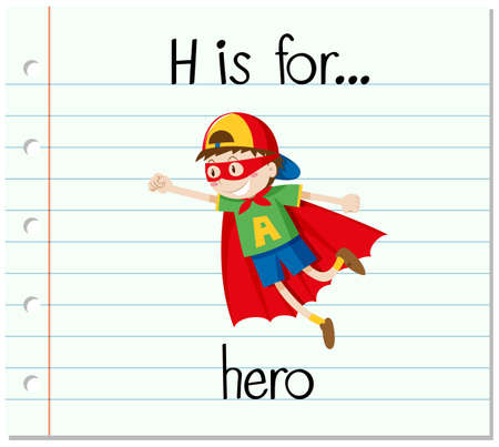 learning series: Flashcard letter H is for hero illustration