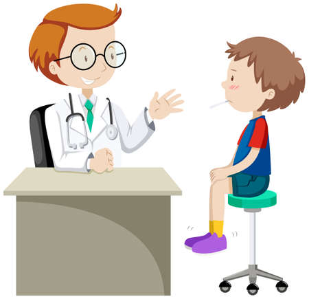 kid doctor: Doctor examining little boy  illustration Illustration